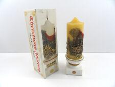 Jasco Carriage Ride Pillar Xmas Journey Candle Holder 1978 Holiday Elegance