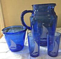 Vintage Hazel Atlas Cobalt Blue Depression Glass Sailboat Pitcher Glasses & Bowl