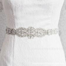 Rhinestone Crystal Applique Wedding Bridal Dress Waist Sash Sew Beaded Belt UK