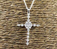 Fine Round Cut Channel Diamond Cross Pendant w/Chain 14K White Gold .16Ct