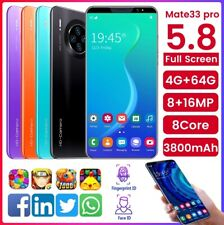 """Mate33 Pro Unlocked Android 9.1 4G Mobile Smart Phone 5.8"""" 4+64GB Dual SIM"""