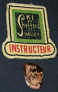 1950-1960 SKI SHEFFORD VALLEY - QC, CANADA - JACKET PATCH + METAL PINBACK BUTTON
