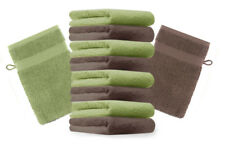 10er Pack Waschhandschuhe PREMIUM Farbe: Apfelgrün & Nuss Größe: 17x21 cm