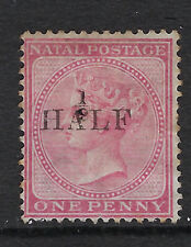 NATAL :1877  1/2d on 1d rose  SG 87 unused, no gum
