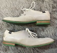 Seven 7 For All Mankind Omarion Saddle Shoes Oxfords Gray Leather Green Soles