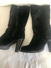 Harley Davidson black Suede leather studs women's boots 10