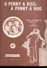 """ANDREWS SISTERS Sheet Music """"A Penny A Kiss - A Penny A Hug"""" 1950"""