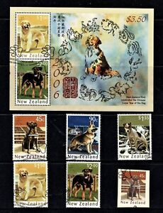 New Zealand 2006 Year of the Dog Set of 5 + Self-adhesive + Minisheet Used