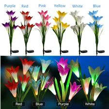 2 Pack Solar 8 Lily Flower LED Lights For Garden Patio Backyard Stake Lamp Decor
