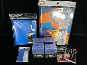 Pokemon TCG 2 Folders, Toploaders + Ultra Pro Sleeves. Storage Bundle. Charizard