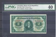 COLOMBIA  BANKNOTES $2 1923 PMG CERTIFIED 40 EXTREMELY FINE