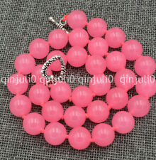 "lovely 12mm Pink Chalcedony Round Bead Gemstones Necklace 18""Tibetan silver love"