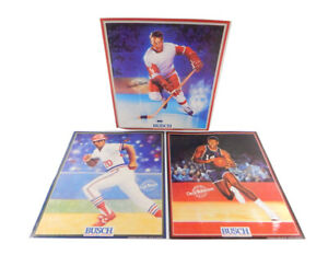 (3) 1989 Anheuser-Busch Beer Posters Gordie Howe Lou Brock Oscar Robertson