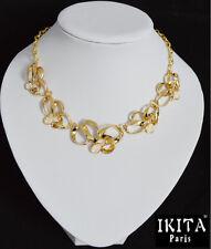 Luxus Statement Halskette  IKITA Paris Kette  Korall-Perlen Gold/Weiß