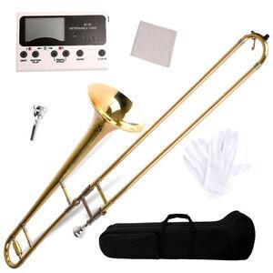 Bb Tenor Slide Trombone, Brass Band Instrument B Flat Key w/ Case, Mouthpiece