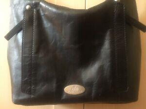 Rowallan Black Leather Handbag