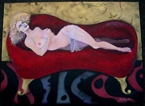 Outsider Art Painting Relining Nude, Sontina Reid Hall Listed Artist