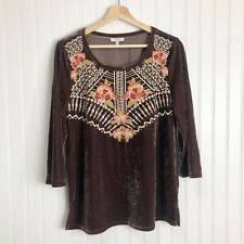 Jodifl Brown Velvet 3/4 Sleeve Embroidered Boho Top Size Small