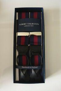 Albert Thurston Navy/Wine Regimental Stripe Braces Black leather Ends