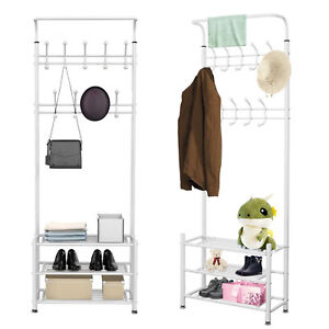 White Metal 18 Hook Hat and Coat Stand Clothes Shoe Rack Hanger Hooks Shelf New