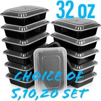 32oz Meal Prep Food Containers with Lids, Reusable Microwavable Plastic BPA free