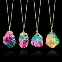 Rock Chakra Jewelry Natural Crystal Necklace Irregular Rainbow Stone Pendant