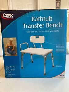 Carex Bathtub Transfer Bench Supports 300 pounds FGB15300 New Open Box