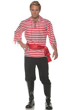 Brand New Striped Pirate Buccaneer Adult Costume (Red)
