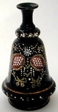 Victorian Black Glass Enameled Moriage Stylized Flower Design