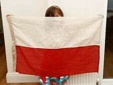 More details for large vintage linen stitched panel polish flag - stamped poland
