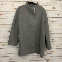 J Crew Gray Cocoon Stadium City Jacket Coat Wool Blend Plus Size 22 NWT Full Zip
