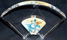 Jacarte Reverse Handpainted CRYSTAL Glass Fan Vase Fitted Box Queen Peonies #1