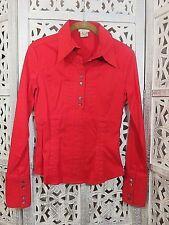 KAREN MILLEN ENGLAND Red Long Sleeve Collared Button Up Fitted Shirt 6