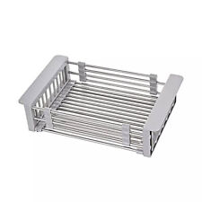 Adjustable Kitchen Dish Drain Basket Steel Sink Rack Drainer Strainer Holder