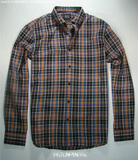 Armani Exchange A/X Mens Black Orange Blue Plaid Shirt MEDIUM NWT