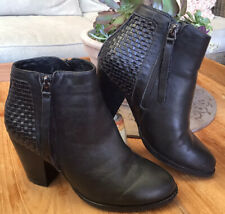 Midas Chic zip Woven Black Leather High Heel Ankle Boots Heels shoes 36 6 EUC