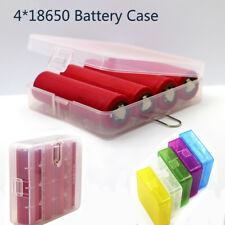 Clear Battery Case for 4 x 18650 Batteries Protective Travel Box Storage Holder