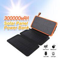 300000mAh Waterproof Portable Solar Charger Dual USB External Battery Power Bank
