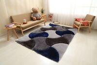 3D ROYAL DESIGN RUG SMALL AND LARGE GREY NAVY BLUE THICK SOFT DENSE PILE NEW RUG