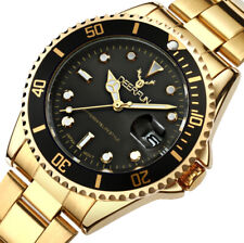 Mens Stainless Steel Watch Water Resistant Quartz Black Dial Gold Strap Gift