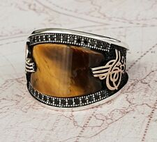 Turkish Ottoman  Tiger's Eye Stone 925 K Sterling Silver Mens Ring