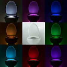 8 Colors LED Night Light Sensor Motion Activated Toilet Bathroom Seat Body Lamp
