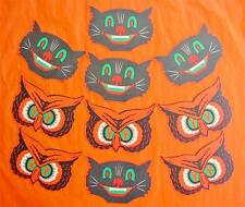 Vintage Style Halloween Mini Cutouts Owl and Cat Set of 10 Beistle Made in USA