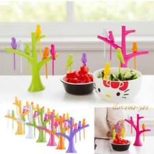 1Set 6Pcs Fruit Snack Dessert Forks With Tree Shape Holder Rack Party Home Decor