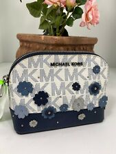 Michael Kors Cosmetic Bag Emmy Large Travel Dome Floral Applique  White Navy M8