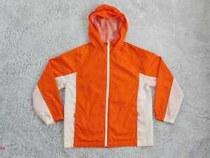 Gap Kids SZ Large (10) 100% Nylon Orange Zip Hooded Rain Coat Jacket Unisex EUC