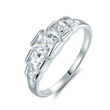 5-Stone Square Cube Diamond Silver Crown Laurel White Gold Filled Women Rings