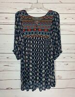 Umgee Boutique Women's S Small Black Boho 3/4 Sleeves Cute Fall Tunic Top Blouse