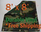 8' x 8' Heavy Duty 18 oz Vinyl Camo Camouflage Tarp Ground Cover Blind Hunting