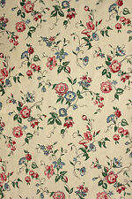 Vintage French printed cotton fabric 1950's trailing floral design ~ lovely tone